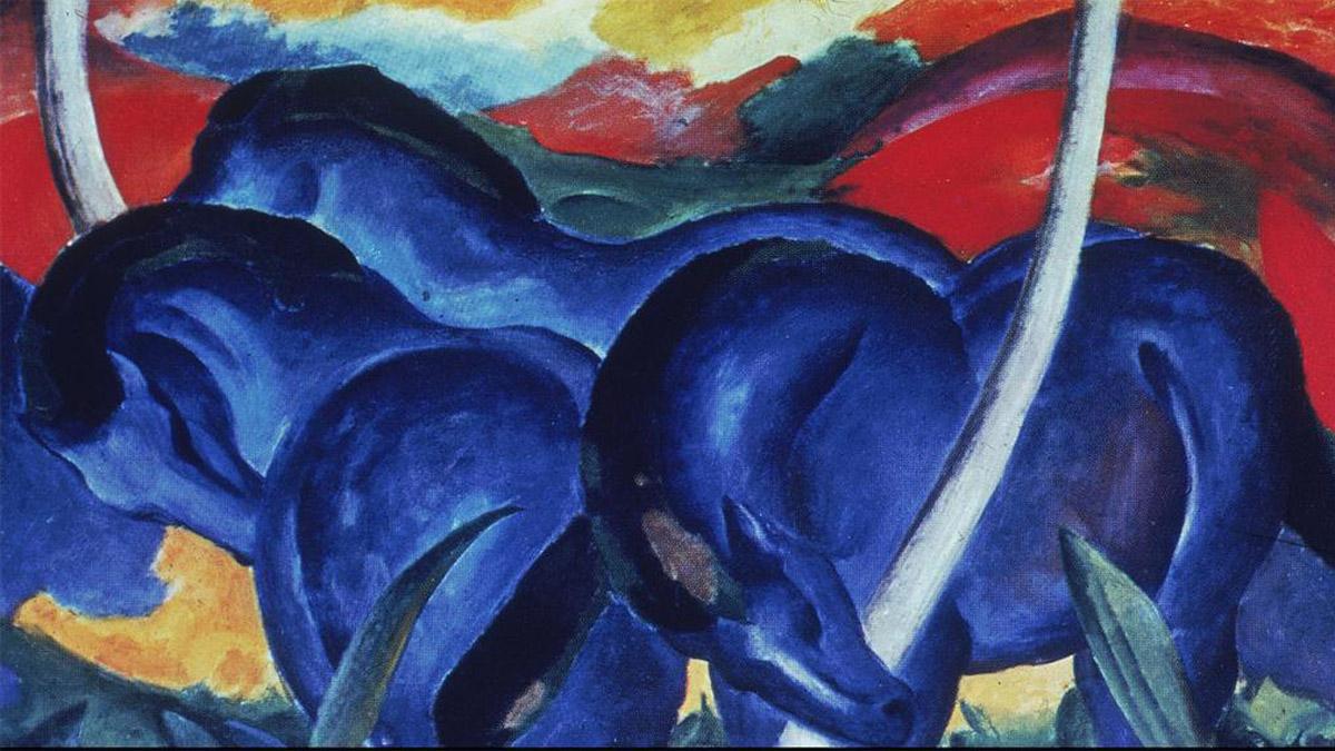"""Eines der bekanntesten Werke von Franz Marc, Mitglied der Künstler-Bewegung """"Blauer Reiter"""""""