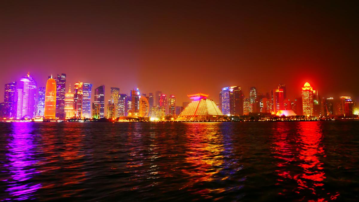 Nächtliche Skyline von Doha. Foto JW