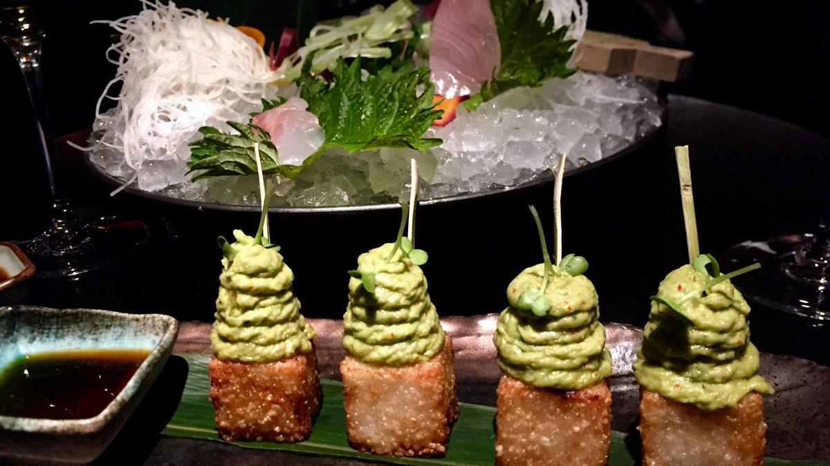 Frittierte Thunfischwürfel mit Avocado Creme. Foto WR