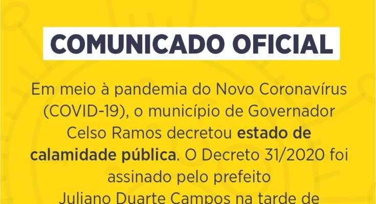 GOVERNADOR CELSO RAMOS DECRETA ESTADO DE CALAMIDADE PÚBLICA