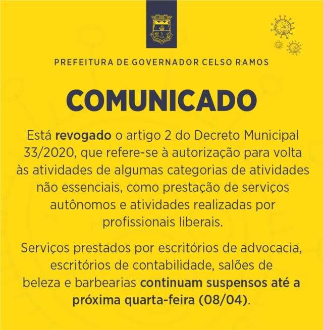 Prefeitura de Governador Celso Ramos revoga decisão de liberar algumas categorias de atividades não essenciais