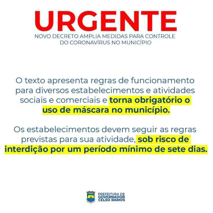 Novo decreto da Prefeitura de Governador Celso Ramos amplia medidas para controle do coronavírus no município