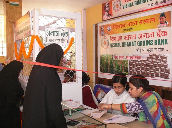 Collecting grains from donors and distributes them to needy families