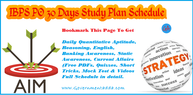 IBPS PO 30 Days Study Plan for Prelims | Mains 2019 : Daily