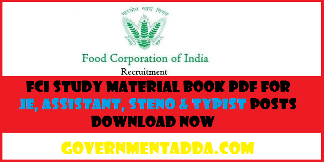 FCI Study Material Book PDF for JE, Assistant, Steno