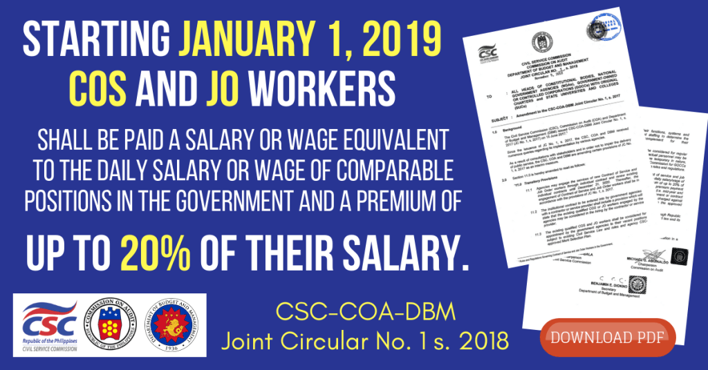 20% Salary Increase to all JO and COS