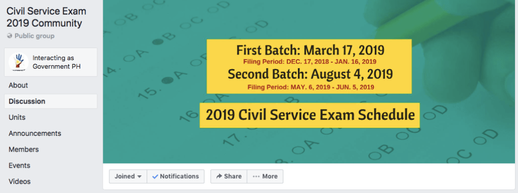 Civil Service Exam 2019 Community FB