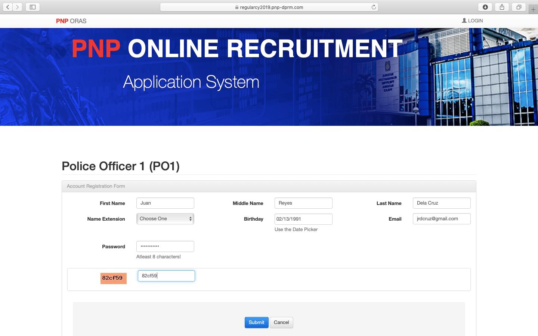 PNP Online Recruitment 2