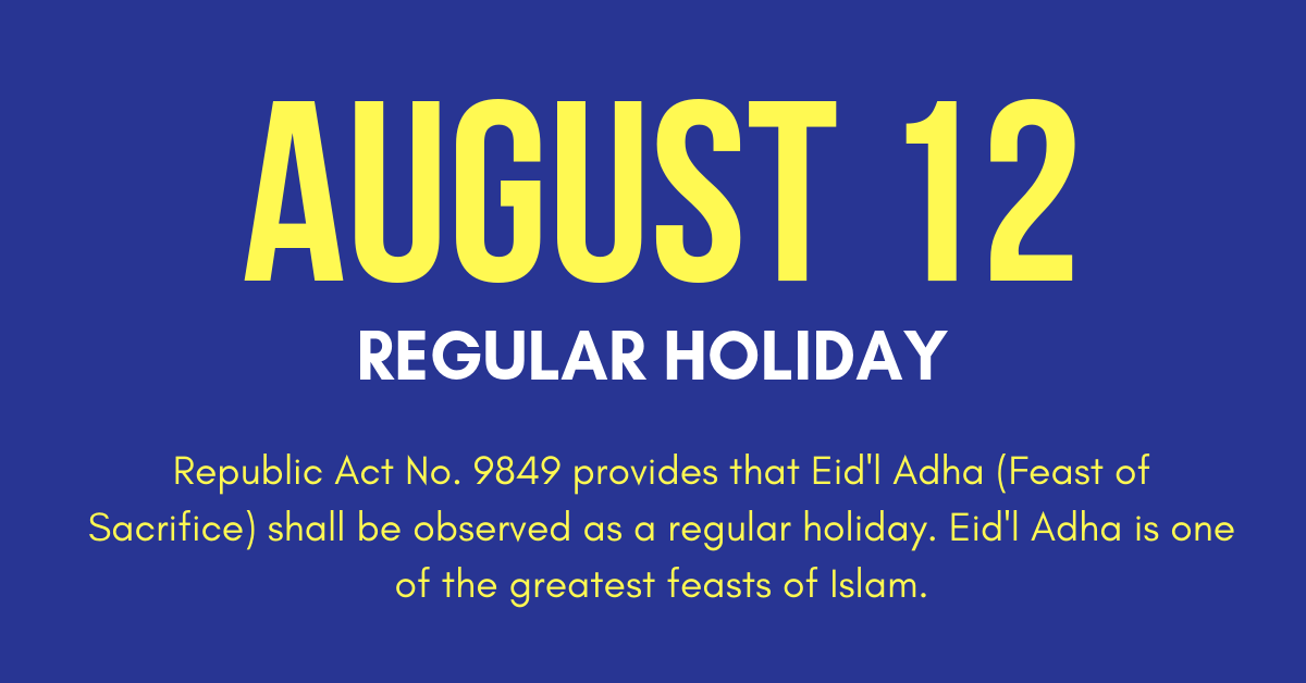August 12 Holiday Eidl Adha