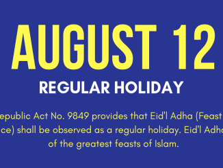 August 12 Holiday Eidl Adha