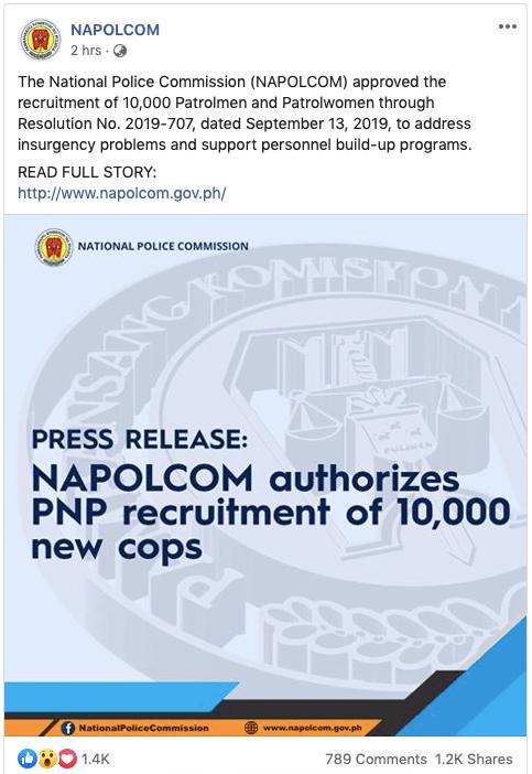 PNP Recruitment 10000