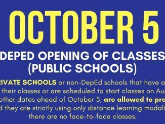 October 5 School Opening