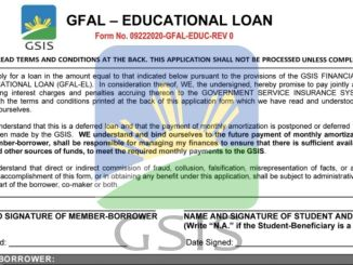 Form of GSIS Educational Loan
