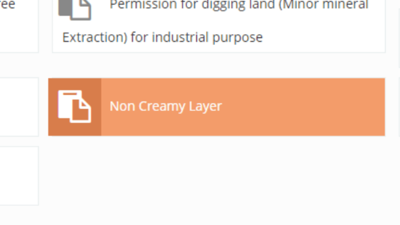 Online Procedure for Application of Non Creamy Layer Certificate in