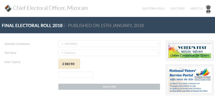 Chief Electoral Officer Mizoram - Download final E-Roll 2018-19 - 1