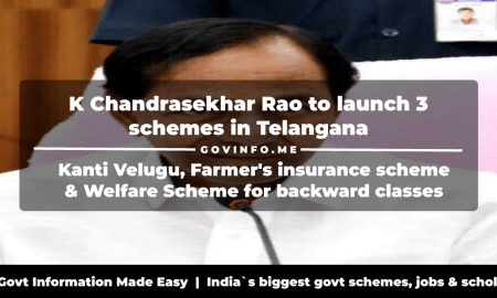 K Chandrasekhar Rao to launch 3 schemes in Telangana Kanti Velugu, Farmer's insurance scheme & Welfare Scheme for backward classes