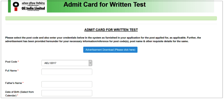 OIL-India-Admit-Card-Download