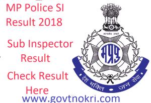 MP Police SI Result 2018