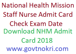 UP NHM Staff Nurse Admit Card 2018