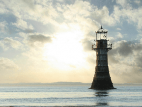 Whitford sands lighthouse on the Gower Peninsula, Swansea, Mumbles