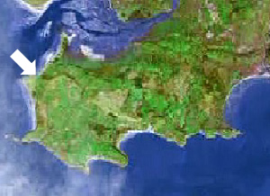 Location of Blue Pool bay on the Gower peninsula, Swansea, Mumbles