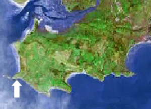 Location of Fall bay on the Gower peninsula, Swansea, Mumbles