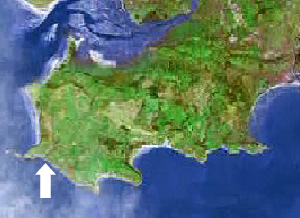 Location of Mewslade on the Gower peninsula, Swansea, Mumbles