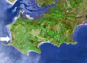 Location of Rhossili bay on the Gower peninsula, Swansea, Mumbles
