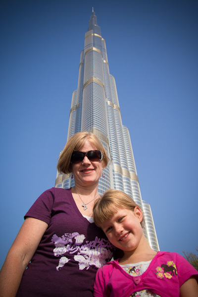 Suz and Maura outside the Burj Khalifa - Michael Gowin