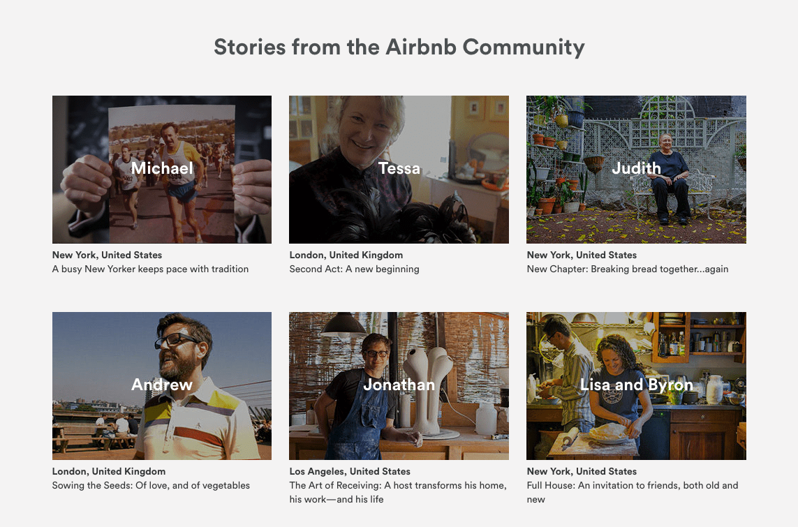 Airbnb calls these testimonials stories.
