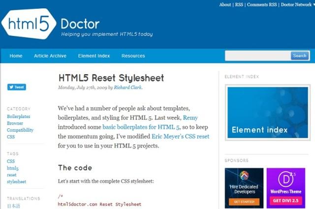 HTML5 Reset Stylesheet