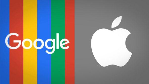 GoogleのロゴタイプとAppleのロゴマーク