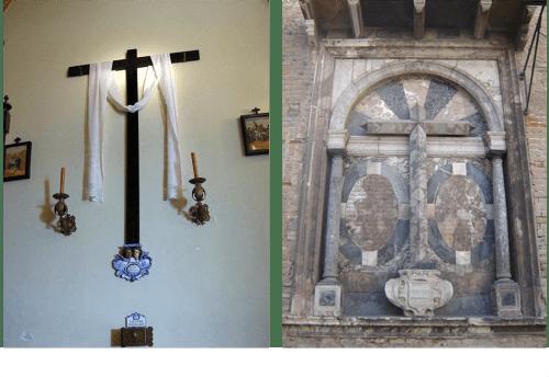 La Cruz de las toallas (en la capilla de los Negritos) y la que hay en la fachada de la casa de Pilatos