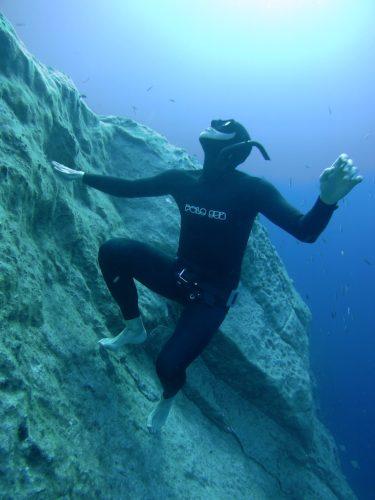 Freediver in Gozo, Blue Hole