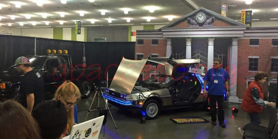 Back to the Future display with Marty's truck and the DeLorean