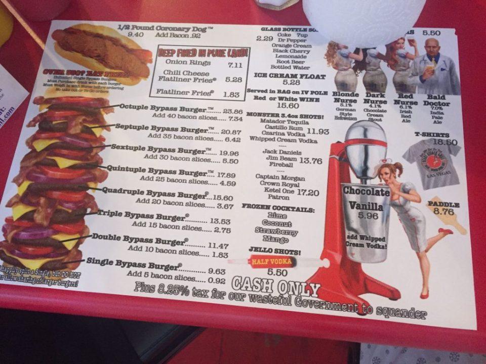 heart attack grill menu