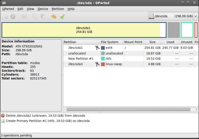 Screenshot - GParted