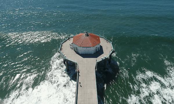 Manhattan Beach – Pan Down Over Aquarium Pier