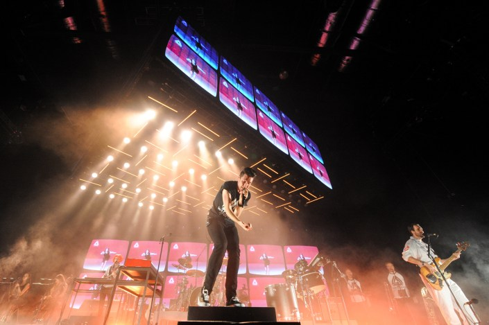 Bastille performing live at Cardiff's Motorpoint Arena, Wales