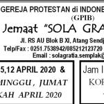 Warta Jemaat 5,12 April 2020  &  TATA IBADAH : MINGGU, JUMAT  AGUNG, PASKAH  APRIL 2020