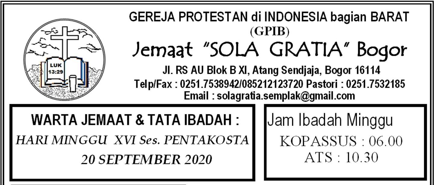 Warta Jemaat Minggu, 20 September 2020