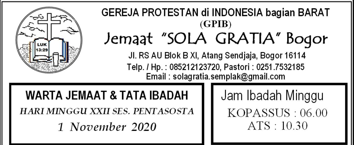 Warta Jemaat Minggu, 01 November 2020
