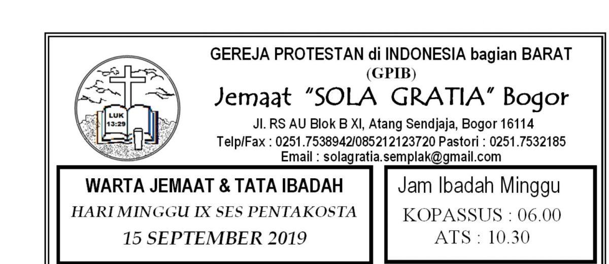 Warta Jemaat Minggu, 15 September 2019