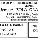 Warta Jemaat Minggu, 04 April 2021