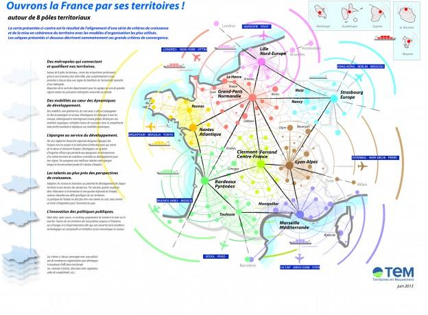 Carte de France : huit pôles territoriaux