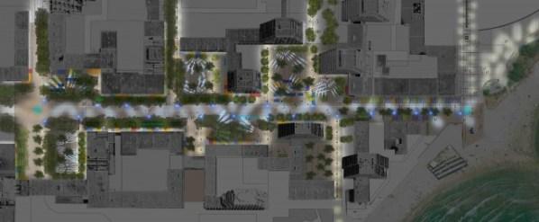 Plan lumière de la ville de La Grande Motte (Hérault).