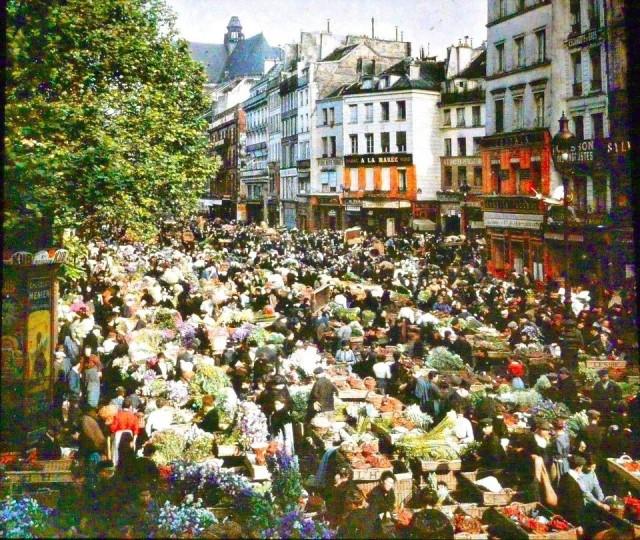 Marche aux fleurs au 86 rue Rambuteau le 21 juin 1914