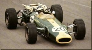 Geki racing the Lotus 33 with a bored-out Climax engine during the Italian Grand Prix, 1966.