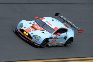 "Lamy driving his Aston Martin in the ""Roar Before The 24"" at Daytona."