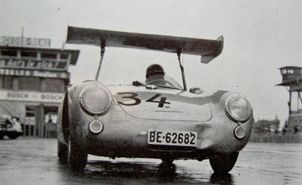 The number 34 Porsche 550 takes to the track at the Nürburgring the first winged car to do so.